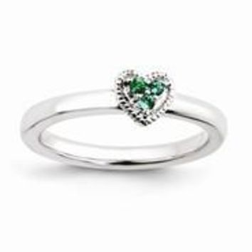 Sterling Silver Heart w/Created Emerald Ring