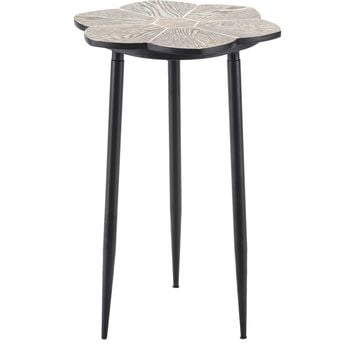 Distressed Natural & Black Daisy End Table