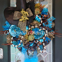 Halloween Witch Wreath, Halloween Decoration, Fall Wreath, Witch Wreath, XL Wreath, Front door wreath, Custom Wreath, Ready to ship