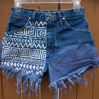 Aztec Print High waisted Blue Dip Dyed Jean Shorts