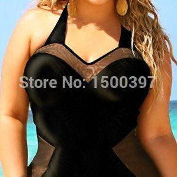 Plus Size XL-XXL Women Black One Pieces Swimwear Bra Padded,Mesh Sheer Female One-Piece Swimsuit,Ladies Obesity Bathing Suit