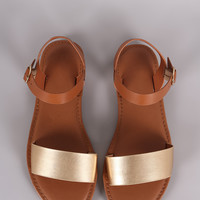 Bamboo Two Tone Ankle Strap Flat Sandal