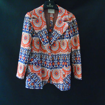 Vintage Blazer,CABOT Funky Kitsch 60s Psychedelic Womens Jacket Loud Blue Orange Peacock Revolution Ugly Jacket Gators Denver Broncos Colors