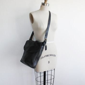 Vintage 80s Coach Black Leather Bucket Purse | Large Bag