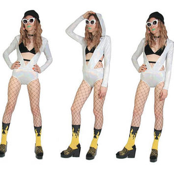 Holographic Bodysuit - Rave Raver Festival - Holo One Piece - Hooded Bodysuit - Size X Small - ESR - White Rainbow