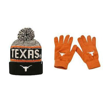 Licensed NCAA Texas Longhorns Acid Rain Beanie Hat And Knit Gloves 2 Pack 38631 KO_19_1