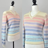 80s Pastel Rainbow Knit Striped Sweater Grunge Crop Small XS Vintage Pullover Long Sleeve Top V Neck Blue Pink Purple