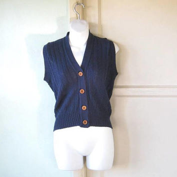 Navy Blue Cropped Sweater Vest w/ Cute Wooden Buttons; Women's Medium V-Neck Woven Vest; U.S. Shipping Included