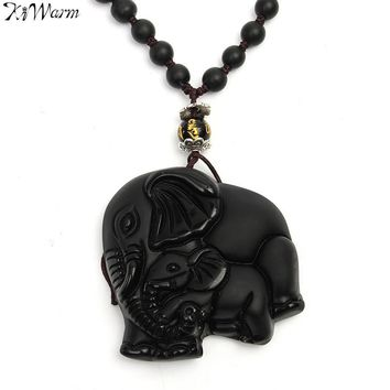 KiWarm Chinese Handwork Natural Black Obsidian Carved Good Lucky Elephant Pendant Necklace Jewelry Gemstone Fengshui Crafts Gift