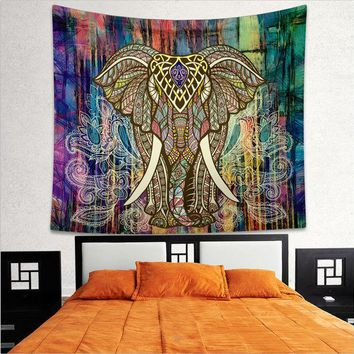 LMF9GW Indian Elephant Mandala Hippie Wall Hanging Tapestry Gypsy Bedspread Throw New Tapestry