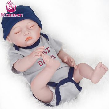 UCanaan 20 Inch Sleeping Boy Dolls Reborn 50CM Silicone Baby Born Doll For Girls Baby Alive Boneca Toys For Children Playmate