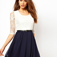 lovely lace bowknot hanging neck dress