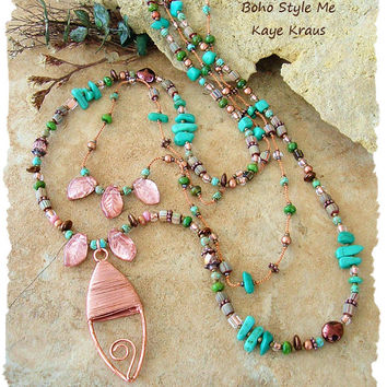 Bohemian Jewelry, Rustic Natural Neutral Layered Necklace, Hand Knotted, Wire Wrapped Copper Pendant, Boho Style Me, Designs by Kaye Kraus