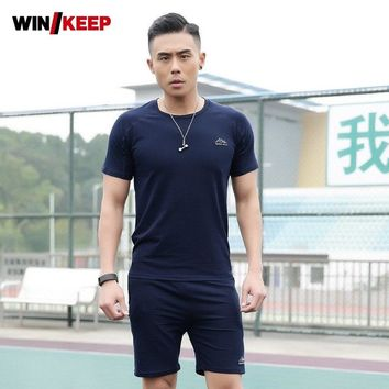 Trainer Men Sportswear Suit Fitness Exercise Short Sleeve Sport Top Male Outdoor Workout Tracksuit Summer Jogger Sweat Set Suits