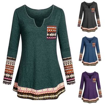 STYLEDOME Women's  V Neck Long Sleeve Boho Patchwork Tunic Shirt with Pocket Blouse