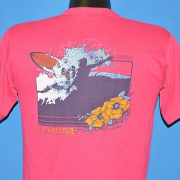 80s Florida Neon Surfer Hibiscus t-shirt Medium