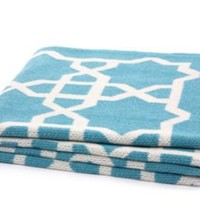 One Kings Lane - Spotlight on...Geometrics - Fretwork Throw, Cerulean