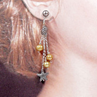 Silver Seashell and Gold Pearl Mermaid Asymmetrical Long Drop Post Earrings, Shoulder Sweepers, Chain Dangles