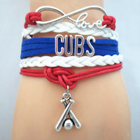 Custom Made Infinite Love Chicago CUBS baseball team colors Bracelet