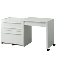 White Slide-Out Desk With Storage Drawers