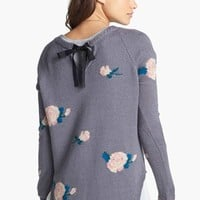 Love By Design Tie Back Floral High/Low Cardigan (Juniors) | Nordstrom