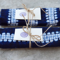Dark blue tea towel SET OF TWO Indigo navy tie dye cotton home decor Ethnic style homeward stripe Beach house Dish cloth Shibori Ultramarine