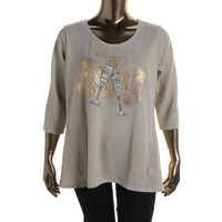 Style & Co. Womens Plus Metallic 3/4 Sleeves Knit Top