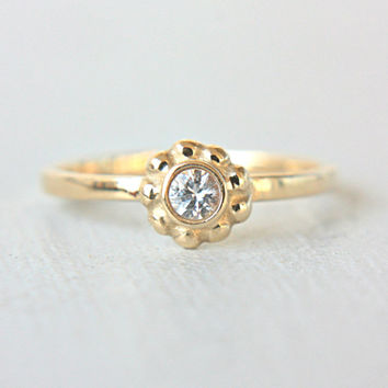 White Sapphire Engagement Ring Sapphire 14k Yellow Gold Ring Alternative Diamond Ring Made in Your Size White Sapphire Engagement Ring