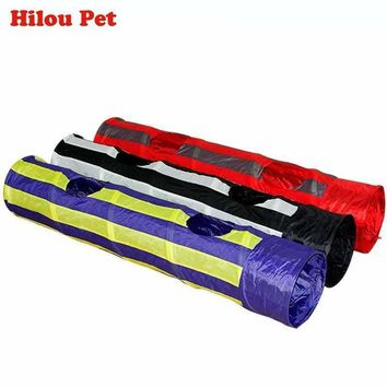 Pet Tunnel Cat Play Tunnel Foldable 2 Holes 130CM Cat Tunnel Play Crinkle Sound Cat Toy Bulk Cat Toys Rabbit Play Tunnel