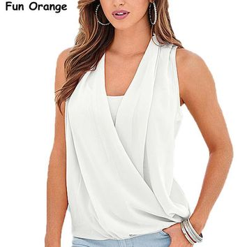 Fun Orange New Fashion Women Tank Tops Summer New Arrival Solid V-neck Chiffon Stitching Knitted Tops