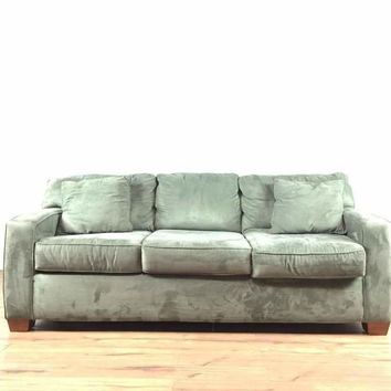Contemporary Gray Upholstered Sofa and Ottoman