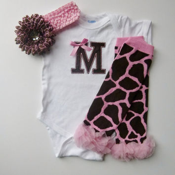 Monogram Onesuit Giraffe Pink Brown Baby Girl Gift Set With Leg Warmers