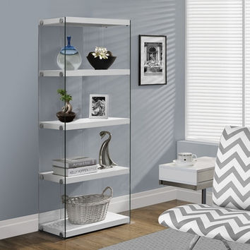 "I 3289 Glossy White Hollow-Core / Tempered Glass 60""H Bookcase"