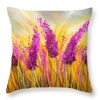 "Sunny Lavender Field - Impressionist Throw Pillow 14"" x 14"""