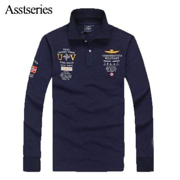 DCCKFS2 2018 High Quality Men T-shirt Australian Cotton Aeronautica Militare Men's Long Sleeve T-shirt Air Force One Embroidered 65wy