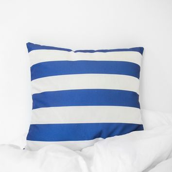 Striped Printed Pillow Case - Cobalt