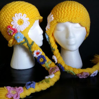 Rapunzel wig hat with flowers on a long braid