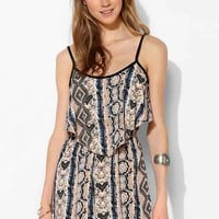 Band Of Gypsies Silky Double Layer Romper- Blue Multi M