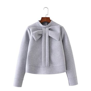 Women sweet bow tie warm sweatshirts long Sleeve O-neck thick pullover casual street wear tops