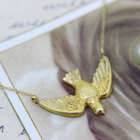 Vintage Bird Necklace | Dove Necklace Pendant | Religious Jewelry | Catholic Necklace | Animal Jewelry | Charm Necklace | Yellow Gold Chain
