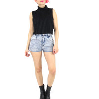 90s Black Ribbed Crop Top Black Turtleneck Tank Top Sleeveless Mock Neck Crop Top Minimalist Goth Summer Cropped Shirt (L/XL)