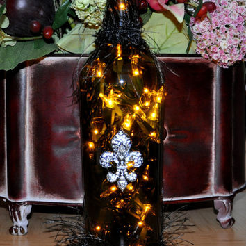 Fleur de Lis Lighted Wine Bottle Lamp  Recycled  by TipsyGLOWs