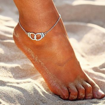 Beach Ankle Bracelet Vintage Silver Animal Anklets Double Layer Beads Anklet