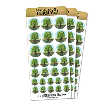 Old Weeping Willow Tree Removable Matte Sticker Set