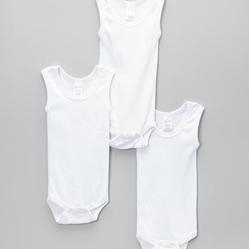 White Tank Bodysuit Set - Infant | zulily