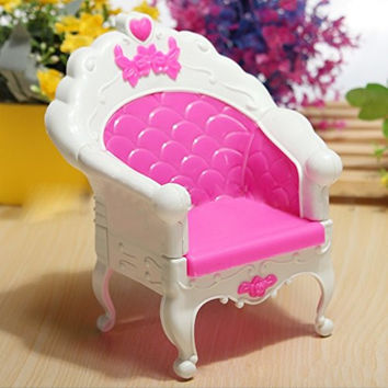 Beautiful Pink Single Chair Set For Barbies Dolls Bedroom Furniture Great Christmas Gift Hot Selling