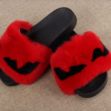 Monster Eye Fur Slides