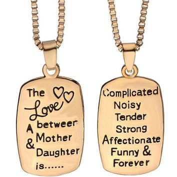"""The Love Between a Mother and Daughter"" Hand Stamped Charm Necklace [Silver or Gold]"