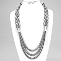 Rope Braided Mesh Snake Necklace Silver