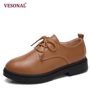 VESONAL Brand Fashion Women Shoes Casual Genuine Leather Casual Ladies Oxford Thick Sole Platform Woman Sneakers Female Footwear